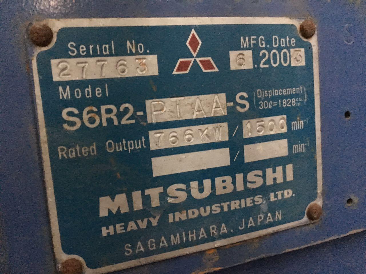 704kw Mitsubishi used diesel generator engine mark